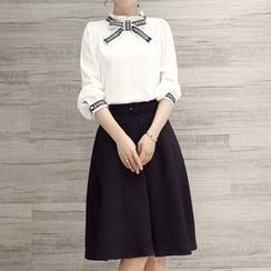 Enjoi - Set: Frill Collar Bow Blouse + Midi Skirt