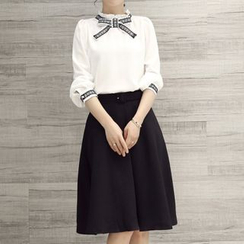 Enjoi - Set: Frill Collar Bow Blouse + Midi Skirt