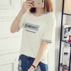 Windbird - Letter Embroidered Short Sleeve T-Shirt