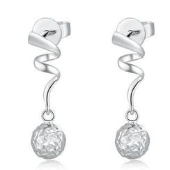 MaBelle - 14K White Gold Swirling Dangle Ball with Diamond-Cut Earrings