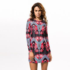 Hotprint - Floral Print Long-Sleeve Mini Dress