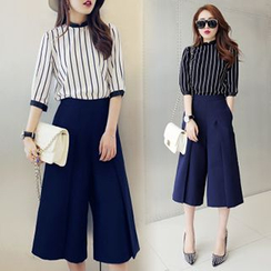 Lavogo - Set: Pinstriped 3/4-Sleeve Top + Capri Wide-leg Pants