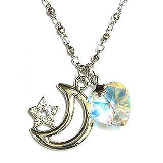 Starry Moon April Birthstone Necklace - Diamond