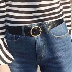 Tiny Times - Round Buckle Faux Leather Belt