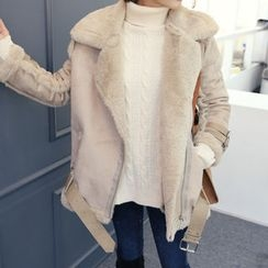 DANI LOVE - Belted Faux-Shearling Jacket