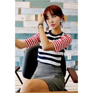IMvely - Elbow-Sleeve Stripe T-Shirt
