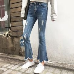 Dute - Distressed Washed Boot Cut Jeans