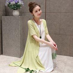 chic n' fab - 套装: 中袖长款薄款外套 + 碎花无袖连衣长裙