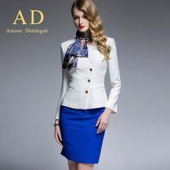 Aision - Set: Side-Button Blazer + Miniskirt