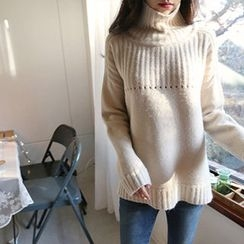 Hello sweety - Turtle-Neck Rib-Knit Sweater