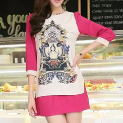 Fashion Street - Print 3/4-Sleeve Dress
