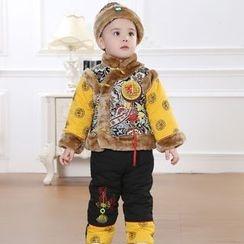 KUBEBI - 童装套装: 中式毛绒夹克 + 无边帽