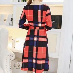 Lovebirds - Long-Sleeve Plaid Dress