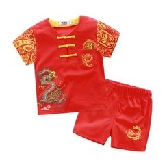 KUBEBI - Kids Set: Chinese Short-Sleeve T-shirt + Shorts