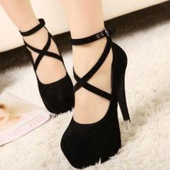 Mancienne - Cross-Strap Platform Stilettos