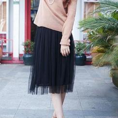 LIVA GIRL - Mesh Tulle Midi Skirt