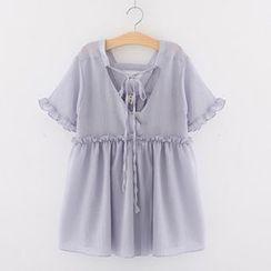 Meimei - 皺摺邊邊短袖雪紡襯衫
