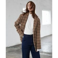 Someday, if - Dual-Pocket Plaid Oversized Jacket