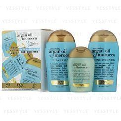 Ogx - 摩洛哥坚果油洗护旅行精华油套装: 洗发水 88.7ml + 护发素 88.7ml + 修护油 50ml