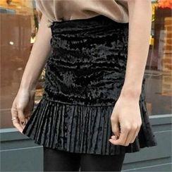 LIPHOP - Pleated-Hem Velvet Skirt