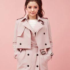 chuu - Set: Trench Jacket + Sleeveless Coatdress with Belt
