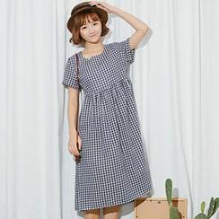Ashlee - Gingham Short-Sleeve Midi Dress