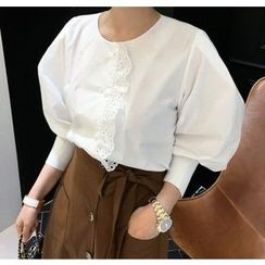 Miamasvin - Puff 3/4-Sleeve Lace-Trim Blouse