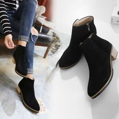 Monde - Block Heel Zip Ankle Boots