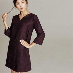 MAGJAY - V-Neck Zip-Back Patterned Dress