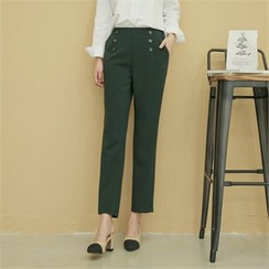 Styleberry - Button-Trim Tapered Pants