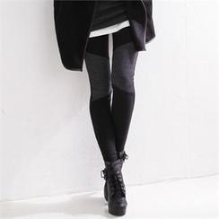 GLAM12 - Color-Block Fleece-Lined Leggings
