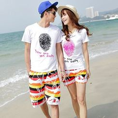 Tabula Rasa - Couple Matching Set: Printed T-shirt + Shorts