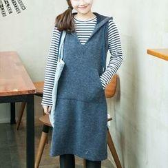 AMELA - Set: Striped Long Sleeve T-Shirt + Hooded Pinafore Dress