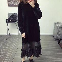 Ainvyi - Long-Sleeve Velvet A-Line Midi Dress