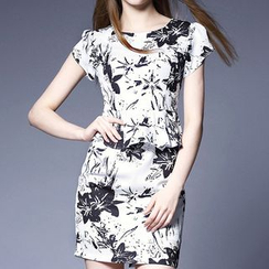 Merald - Floral Print Peplum Dress