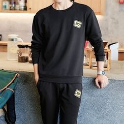 Danjieshi - Set: Printed Pullover + Sweatpants