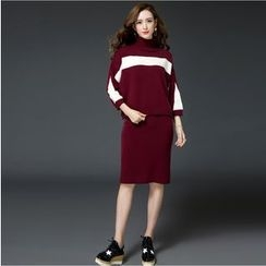 Piano Princess - Set: High Neck Contrast Trim Sweater + Plain Midi Knit Skirt