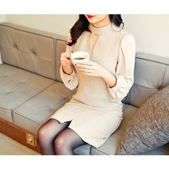 HOTPING - Puff-Sleeve Cutout-Front Dress