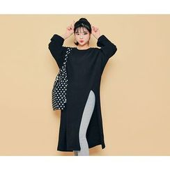 HOTPING - Slit-Side Loose-Fit Long Top