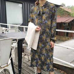 Bloombloom - Floral Print Long-Sleeve Dress
