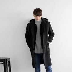 Seoul Homme - Wool-Blend Hoodie Coat