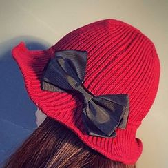 Pompabee - 蝴蝶结针织渔夫帽