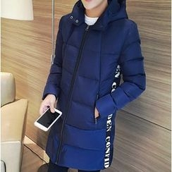 Bay Go Mall - Lettering Hooded Padded Coat