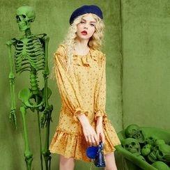 ELF SACK - Printed Ruffled A-Line Dress