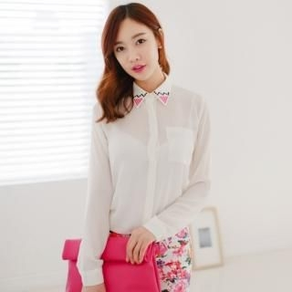 SUVINSHOP - Rhinestone Accent Blouse
