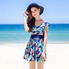 Morning Dew - Printed Short-Sleeve Swimdress