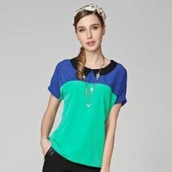 O.SA - Short-Sleeve Color-Block Blouse