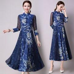 Diosa - 3/4-Sleeve Floral Maxi Dress