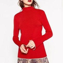 Chicsense - Long-Sleeve Mock-Neck Knit Top