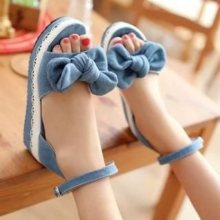 Pangmama - Bow-Accent Denim Wedge Sandals